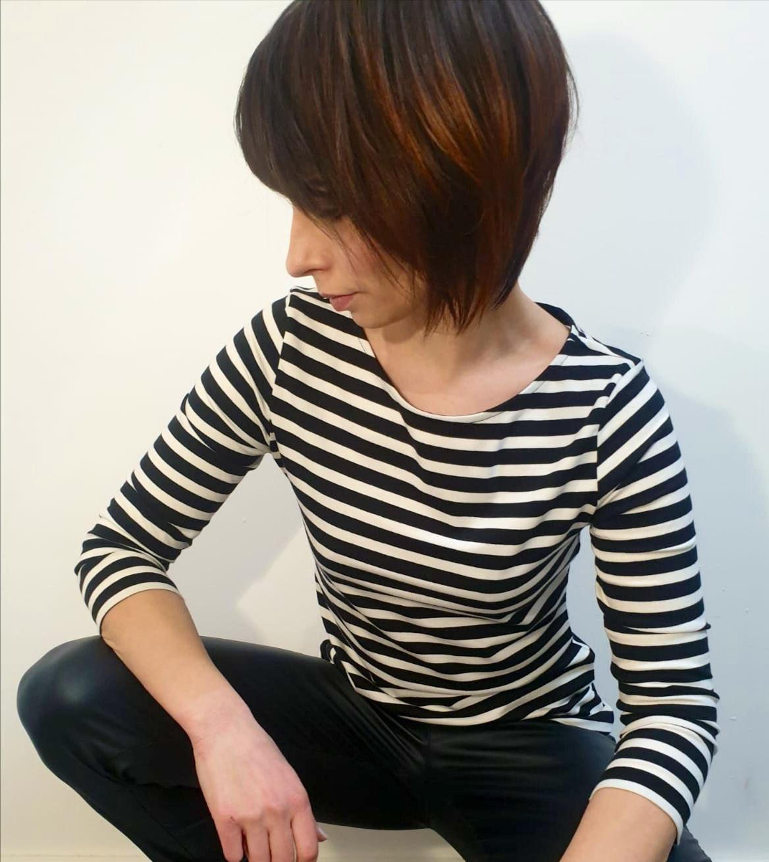 Damenshirt 3/4 Arm Stripe ROFL